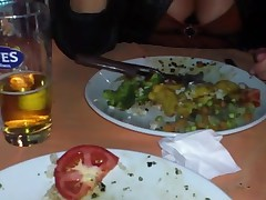 Footjo and titsshow in public restaurent
