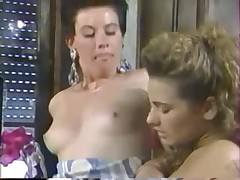 Teen lesbian retro sluts alone in the house have fun