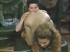Teen lesbian retro sluts alone in the house have fun