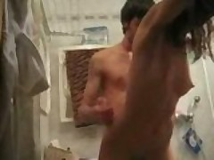Skinny slut nailed in bathroom
