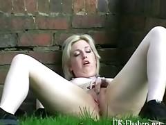 Golden-Haired dilettante exhibitionists outdoor masturbation