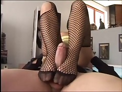euro playgirl fishnet footjob for cum on her soles