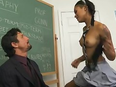 Sexy Dark schoolgirl team-fucked by teacher