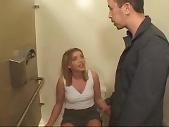 Double anal sex and blowjob in the public toilet