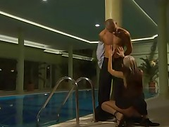 Adorable French Chick Drilled By The Pool