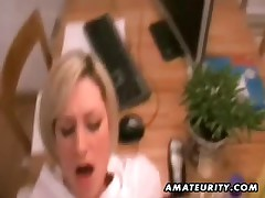 Hawt golden-haired non-professional girlfriend sucks and copulates with facial