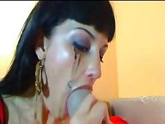 Slutty web camera gal self deepthroating with a sex-toy