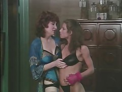 Retro lesbian lady seducing a younger gal for sex