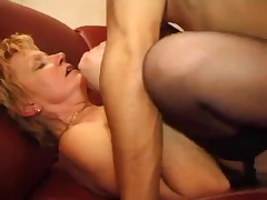 Mature bbw blonde seduces her young French neighbor