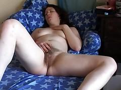 Concupiscent Corpulent Dark Brown Girlfriend rubbing her Hirsute Vagina
