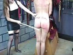 Hot brunette hair in leather punishes girlfriend