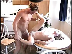 Sexy juvenile golden-haired disrobes and receives her cunt screwed on kitchen table