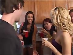 Hawt college cuties begin an fuckfest at a frat abode party