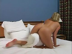 Cuddly blonde masturbates in POV sex video