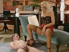 Mature blondie showing a young guy a good time