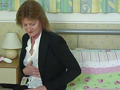 Old slim British office lady acquires nasty