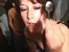 Horny mature cum slut covered with many facials