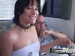 Babe pussy getting exploited on the back seat of van