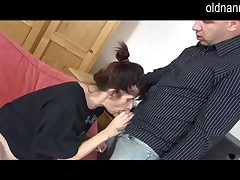 granny and juvenile boy are blowjobing jointly
