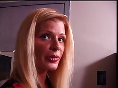 Cute blond made to stuff her nylons in her throat