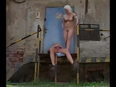 Blonde MILF bent over and bonked from behind