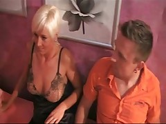 Sexy threesome with two horny blonde slutty Milfs