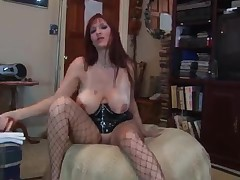 Slutty playgirl blows a large rubber rod