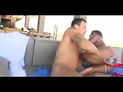 White dick in amateur black slut's shaved cunt