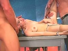 Teenage Celebrity Sasha Grey Stuffed by TWO hard Cocks!