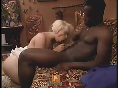 Blonde babe gets a taste of her first black dick