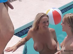 2 Sexy Women Fuck the Bachelor by the Pool