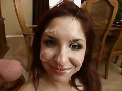 Cum loving sluts getting blasts of jizz on their faces