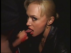 Lascivious golden-haired Russian chick sucks a unbending rod outdoors