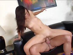 Captivating youthful dark brown girlfriend makes love to her boy