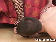 2 darksome femdoms taking care of a lustful boy-friend