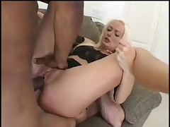 Horny blonde French chick is double penetrated hard
