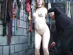 Boy-Friend takes fake penis to juvenile bondaged blond's pale bald snatch