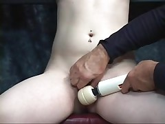 Boy-Friend takes fake penis to juvenile bondaged blond's pale bald snatch