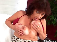 Large titted granny finger copulates her shaggy cum-hole