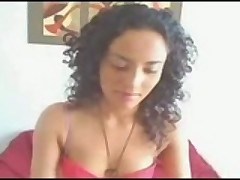 Curly Haired Latina Teasing On Cam