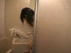 Slender japanese steamy shower tease