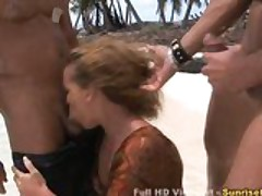 Vacation turns into group beach sex