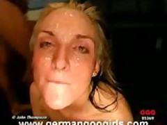 Euro cumslut face covered in jizz