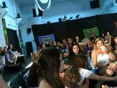 Horny Big Boob Party Girls Jack Off & Suck Stripper Cock