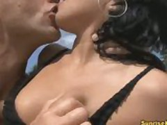 Sexy Nataly fingered and fucked on the beach