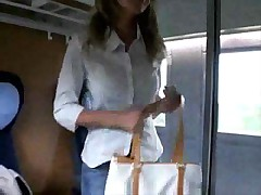 Busty blonde on a train sucking and fucking
