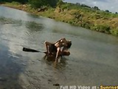 Busty asian fucked in the lake and big facial