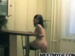 Big tits brunette girlfriend strips