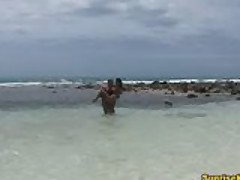 Caribbean beach sex and facial