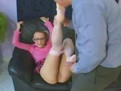 Nerdy blonde with glasses gets fucked in sheer white pantyhose